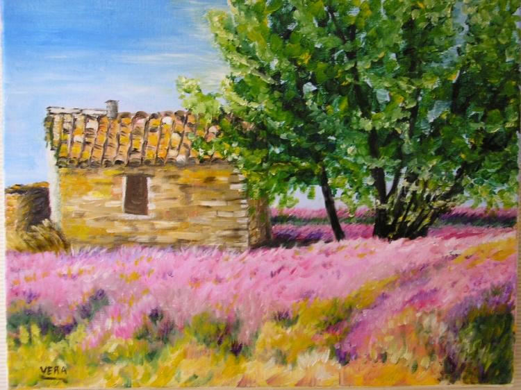 tableau peinture art cabanon provence lavande paysages peinture a l 39 huile le cabanon. Black Bedroom Furniture Sets. Home Design Ideas