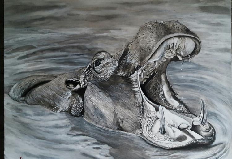 TABLEAU PEINTURE - Hippo