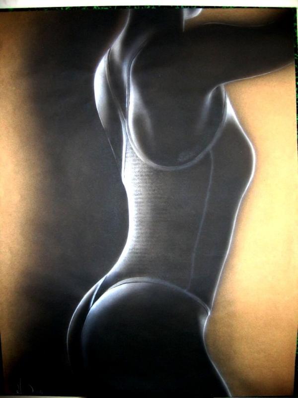 TABLEAU PEINTURE nu femme monochrome moderne - Fantasme