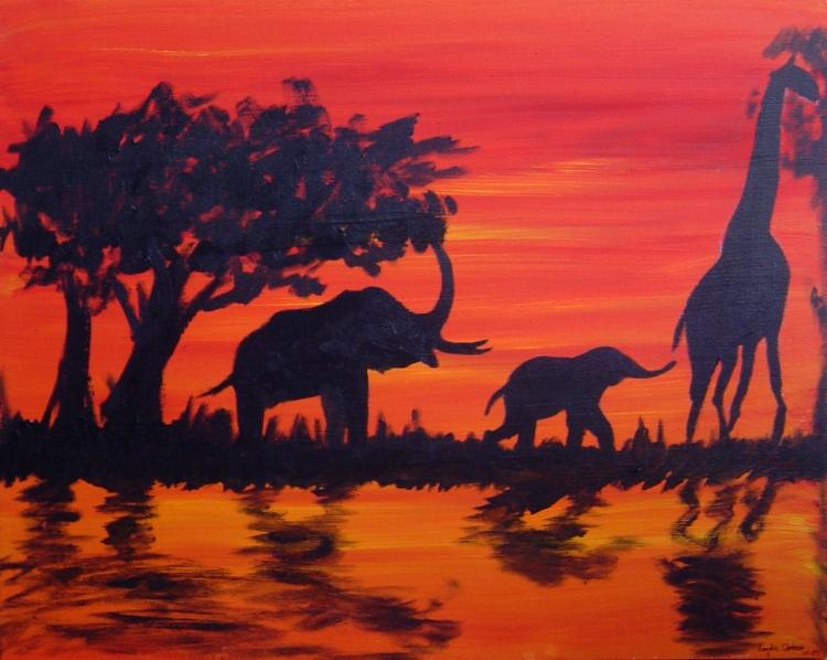 Tableau peinture afrique peinture animaux paysage suivre - Dessin paysage africain ...
