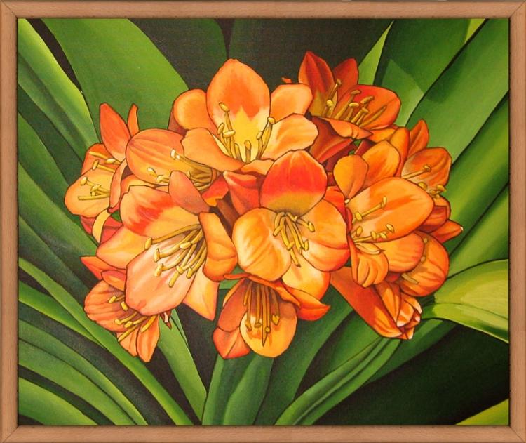 TABLEAU PEINTURE fleurs orange nature - Fleurs oranges