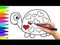 Comment dessiner la tortue avec les coeurs | Coloriage pour enfants avec marqueurs colorés