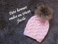 TUTO BONNET ONDES TORSADES TRICOT Hat beanie knitting GORRO DE TRENZAS AGUJAS