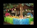 Colorful Hawaiian party decorations