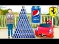 CRAZY PEPSI CHALLENGE vs MINI FERRARI PRANK ! Néo fait une Pyramide Géante de Canettes…