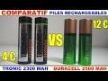 duracell vs tronic comparatif piles rechargeables test décharge lente