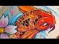 time lapse drawing - Koi fish (carpe koi) - tattoo style