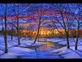Peindre la neige, l'hiver au coucher du soleil a l'acrylique cours complet