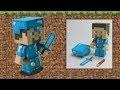DIY : Steve de Minecraft en Papercraft | Armure en diamant + torche et épée