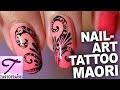 Tuto nail art inspiration tatouage Maori en peinture de détail
