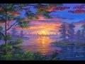 Peindre le lac au coucher du soleil. Video complete commentee