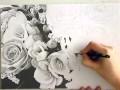 Dessin de fleurs, noir et blanc
