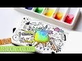 TUTO # Aquarelle rainbow et doodles kawaii