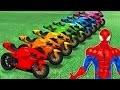 Comptines Bébé - Dessin animé francais Motos colorées et Spiderman Mcqueen Cars| Colors for Kids