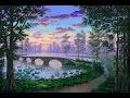 Comment Peindre Le Lac, Sentier et Pont Au Coucher Du Soleil A L'Acrylique Sur La Toile
