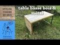 UNE TABLE BASSE EN METAL ET BOIS DE PLAN DE TRAVAIL