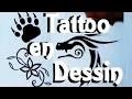 Tattoo dessin : Fleur, Dragon, patte d'Ours