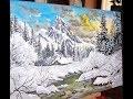 peinture acrylique paysage de montagne en hiver
