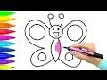 Comment dessiner le papillon | Livre à colorier avec marqueurs colorés | Comment dessiner