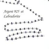 10 cm - chaine argent 925 très fine et pierre labradorite-3.5 mm pour ras du cou, sautoir et bracelet
