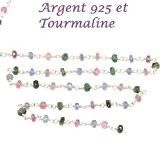10 cm - chaine rosaire argent et très fine pierre tourmaline-3 mm pour ras du cou, sautoir, BO et bracelet