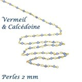 10 cm - chaine rosaire vermeil et très fine pierre fine Calcédoine- 2 mm pour ras du cou, sautoir, BO ...