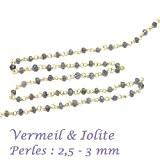 10 cm - chaine rosaire vermeil et très fine - pierre fine Iolite- 2,5 - 3 mm pour ras du ...