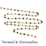 10 cm - chaine rosaire vermeil et très fine pierre tourmaline-2.5-3 mm pour ras du cou, sautoir, BO et bracelet