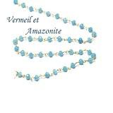 10 cm - chaine rosaire vermeil très fine et pierre amazonite -3,5 mm pour ras du cou, sautoir et bracelet