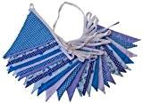 10 m Bleu Floral Flyingstart Guirlande fanions double face en tissu