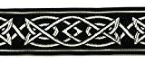 10m celtique galon webband 35mm couleur?: noir/argent présentée par La 1A de mercerie MG05-swsi 35