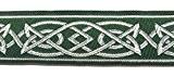 10m celtique galon webband 35mm couleur?: vert foncé Argent présentée par La 1A de mercerie MG05-dgnsi 35