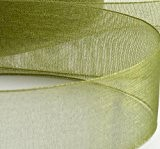 10m de ruban en organza Vert forêt bord tissé 20mm Boîte pour mariage décoration. Vendu et Expédié depuis le Royaume-Uni