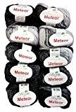10x 50g métallisé coton noir gris argent 400-06, 500g laine à tricoter et crochet