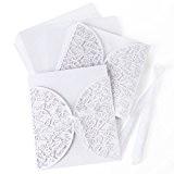 10 x invitation mariage 15cm découpe dentenlle papillons blanc avec ruban + enveloppe