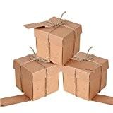 100 pcs Boîte à Dragée Cube Portaconfetti Boîte en Carton Thème Rustique Couverture Kraft avec Étiquette Et Corde en Chanvre ...