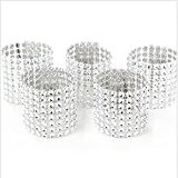 100PCS Ronds de serviette de table ruban strass ARGENT 13*4CM -RUBAN DIAMANTS ARGENT