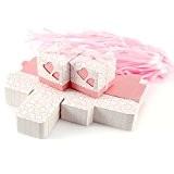 100x Boîte à dragées couvercle coeurs ruban mariage baptême fille bébé rose clair
