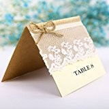 10pcs Carte d'Invitation Marque Place Dentelle Vintage Décoration Table de Mariage # 1