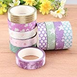 10pcs Glitter Motif Washi Tape Autocollant Adhésif Masquage Scrapbooking Décoratif 1,5cmx3m + Strass Acrylique Ruban