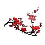 1pcs Patch Fleur Style Chinois Lace Tissu Bordure Vêtement Ornement Applique à Coudre Diy - Rouge