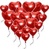 ?20 Ballons Hélium Coeur Baloons Gonflable Rouge Clinquant avec des Cordes Romantique Amour Décoration Soirée Mariage, La Saint-Valentin - 45CM ...