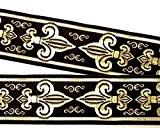 20m Lys français galon Fleur de lis webband 25mm Couleur?: noir/or de 1a de mercerie 25063de swgo