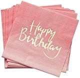 20 Serviettes Happy Birthday Rose et Or