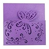 20pcs Carte Faire-part Carré en Papier Motif Evidé Elégant Carte Invitaion pour Mariage - 15cm - Violet Papillon