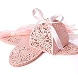 25x Boîte à dragées bonbons Rose Cage avec ruban Ballotin pour mariage baptême