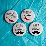 4 Badges mariage - Parents des mariés