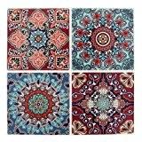 4 stickers deco Mosaïques 12x12cm style Azulejos/Carreaux de ciment Brun