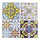 4 stickers deco Mosaïques 12x12cm style Azulejos/Carreaux de ciment Jaune