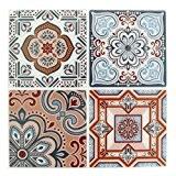 4 stickers deco Mosaïques 12x12cm style Azulejos/Carreaux de ciment Marine